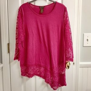 Beautiful Pink Shirt with Lace Sleeves and Trim